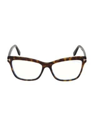 55MM Blue Block Square Eyeglasses
