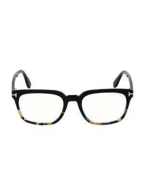53MM Blue Block Square Eyeglasses