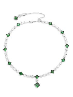 Azlyn Rhodium-Plated Sterling Silver, Clear & Green Cubic Zirconia Collar Necklace