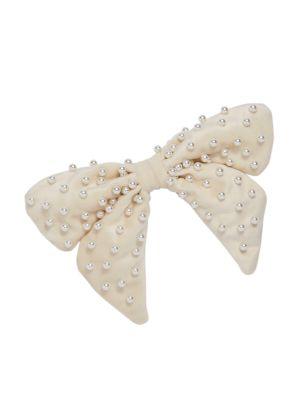 Faux Pearl-Embellished Velvet Bow Barrette
