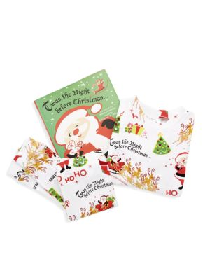 Little Kid's 3-Piece Twas The Night Before Christmas Cotton Pajamas & Book Set