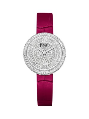 Possession 18K White Gold, Diamond & Pink Alligator Strap Watch