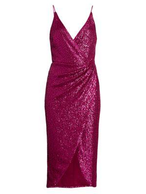 Sequin Midi Wrap Dress