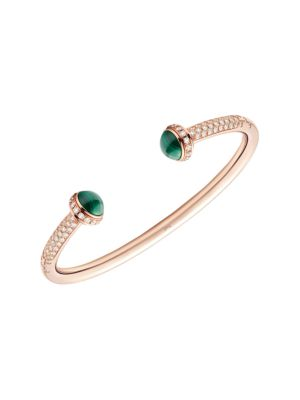 Possession 18K Rose Gold, Malachite & Diamond Open Bangle Bracelet