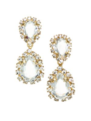 Crystal Dangle Goldtone Earrings