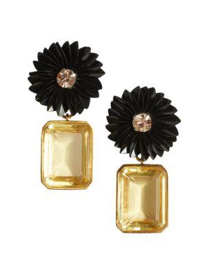 Goldplated Lemon Topaz-Quartz Flower Drop Earrings