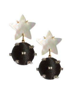 Goldplated Mother-Of-Pearl Star Bead Drop Earrings