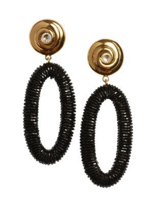 Goldplated Beaded Hoop-Drop Earrings