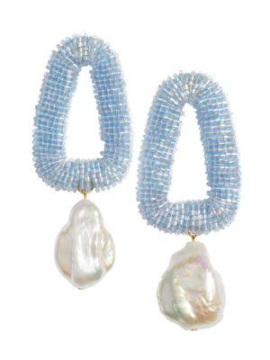 Blue Oasis Goldplated & Freshwater Pearl Beaded Drop Earrings