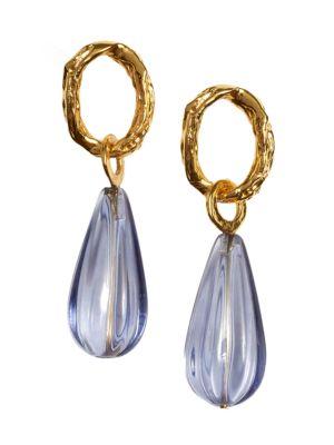 Goldplated Translucent Teardrop Earrings