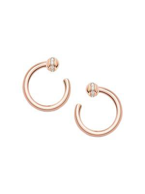 Possession 18K Rose Gold & Diamonds Open Hoop Earrings