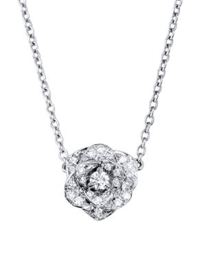 Rose 18K White Gold & Diamond Pendant Necklace