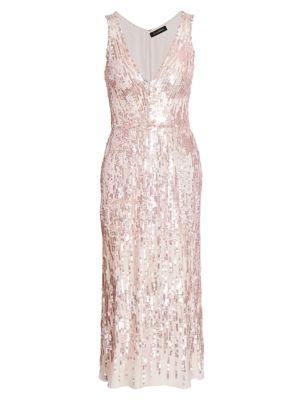 Sleeveless Sequin Tea Length Dress