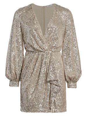 Faux-Wrap Sequin Mini Dress
