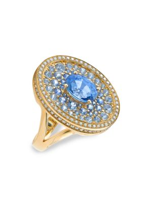 Asteroid 18K Yellow Gold, Blue Sapphire & Diamond Cocktail Ring