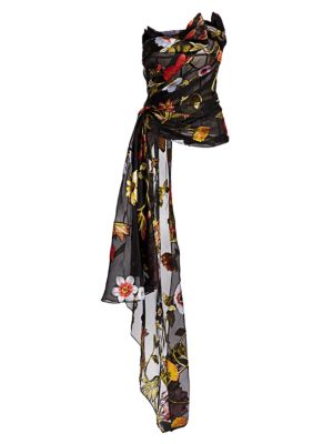 Floral Strapless Ruche Drape Silk Chiffon Blouse