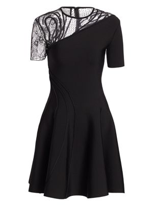 Asymmetric Mesh Embroidered A-Line Dress