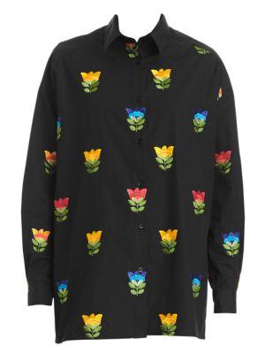 Floral-Embroidered Drop-Shoulder Shirt