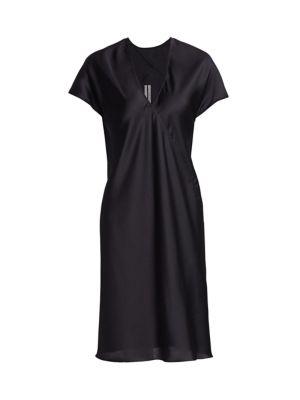 Satin V-Neck Shift Dress