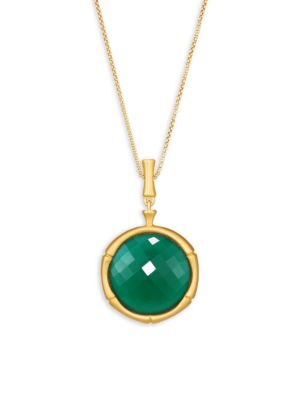 Green Onyx Bamboo Motif Pendant Necklace