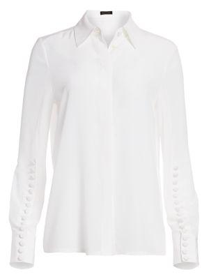 Nescava Button-Trimmed Silk Blouse