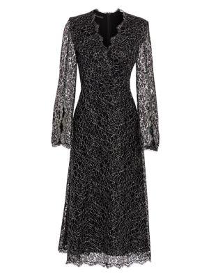 Metallic French Lace Midi Dress