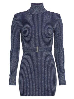 Glitter Rib-Knit Belted Mini Turtleneck Sweater Dress