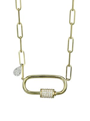14K Yellow Gold & Diamond Carabiner Pendant Chain Necklace