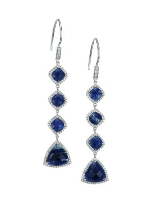 14K White Gold, Blue Sapphire & Diamond Linear Earrings