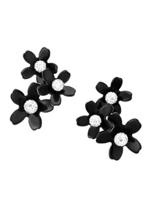 Garden Bouquet Crystal & Black Acetate Floral Earrings