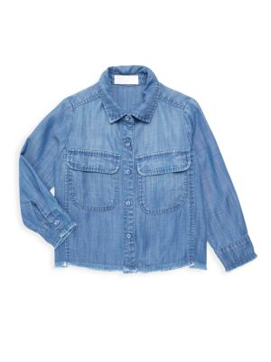 Little Girl's & Girl's Frayed-Hem Shirt Jacket