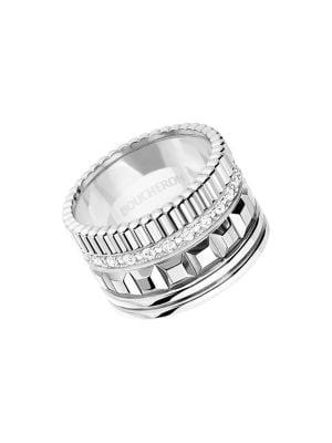 Quatre Classique 18K White Gold & Diamond Wedding Ring