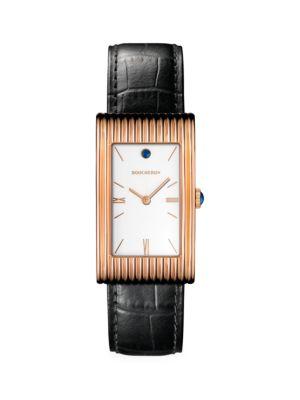 Reflet 18K Rose Gold Rectangular Alligator Strap Watch