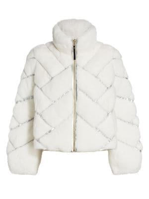 Julia & Stella For The Fur Salon Reversible Metallic Quilted Nylon-Lined Mink Fur Jacket