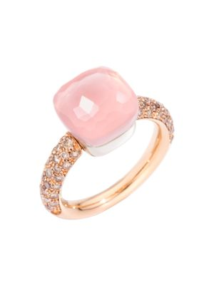 Nudo 18K Rose Gold & White Gold, Rose Quartz & Diamond Classic Square Ring