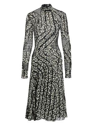 Printed Chiffon Panel Stretch-Silk Dress