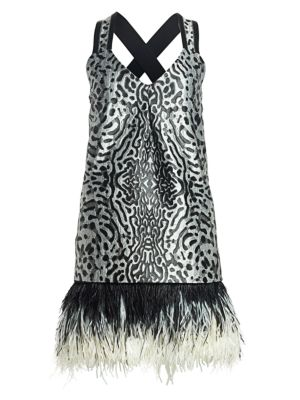 Sleeveless Feather-Trim Printed Jacquard Mini Dress
