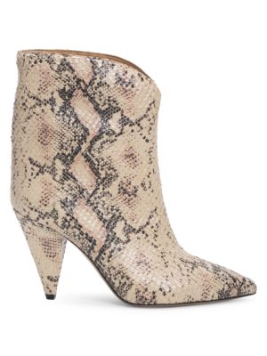 Leinee Snakeskin-Embossed Leather Ankle Boots