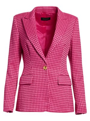 Houndstooth One Button Blazer