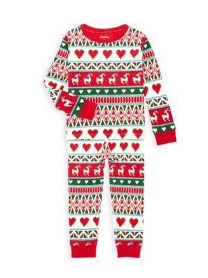 Little Kid's & Kid's 2-Piece Deer Fair Isle Pajama Set