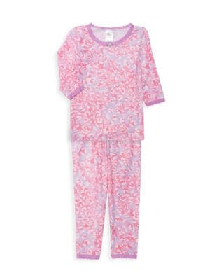 Little Girl's & Girl's Shimmer Cheetah 2-Piece Pajamas