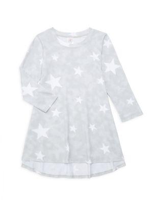 Little Girl's & Girl's Star-Print High-Low Shift Dress