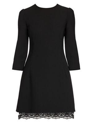 Three-Quarter Sleeve Double Crepe Mini Dress