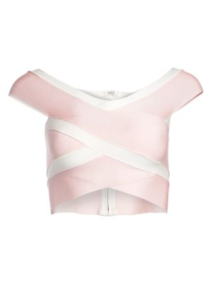 Two-Tone Stripe Bandage Off-The-Shoulder Crop Top