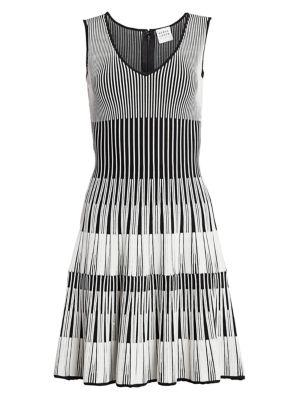 Lurex Stripe Fit-&-Flare Dress