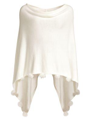Oaklee Faux Fur Pom-Pom Cashmere-Blend Handkerchief Poncho