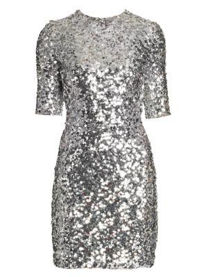 Short-Sleeve Sequin Mini Dress
