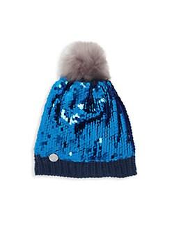 디즈니 겨울왕국2 엘사 사퀸 니트 모자 Charm It! Disneys Frozen 2 Elsa Sequin Knit Hat,Blue
