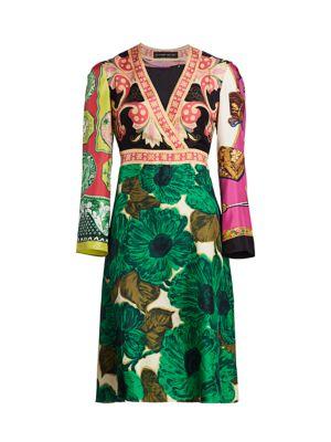 Patchwork Brushed V-Neck Silk Dress