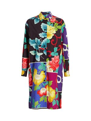 Japanese Floral Poplin Shirtdress